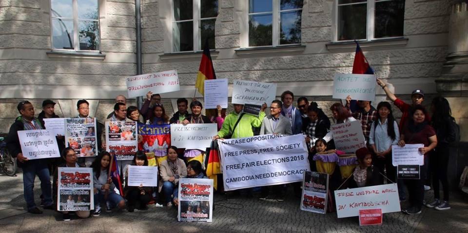 Protest gegen Hun Sen beim Mekong Ländertag in Berlin am 10.9.2017