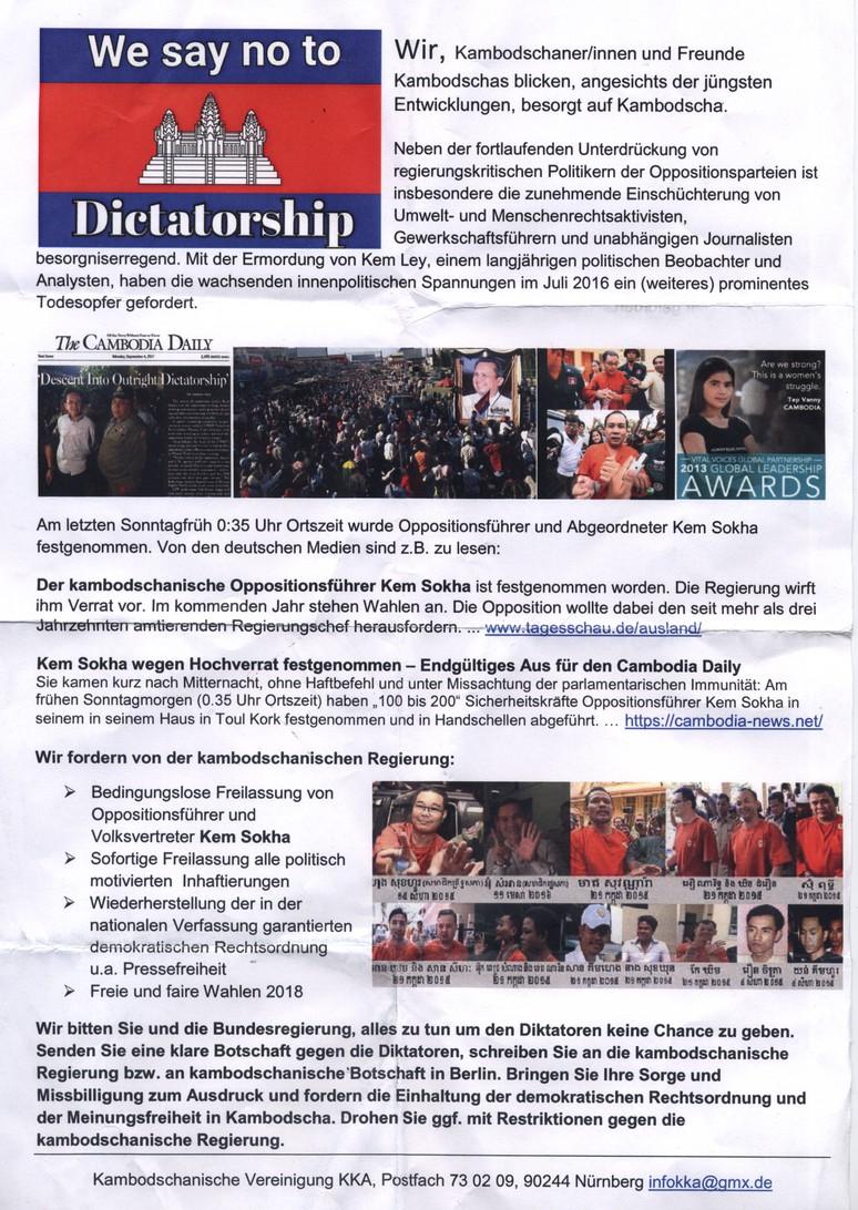 Flyer der bei Protesten in Berlin gegen die Regierung Hun Sen verteilt wurden.
