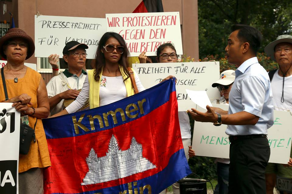Protest against Fake Elections in Cambodia on 29.7.2018. Demonstration Embassy, German Chancellery to Brandenburger Tor.