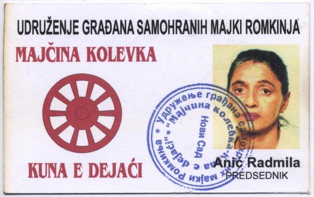 Ausweis von Radmila Anic als Vorsitzende der Roma-Frauen-Oranisation