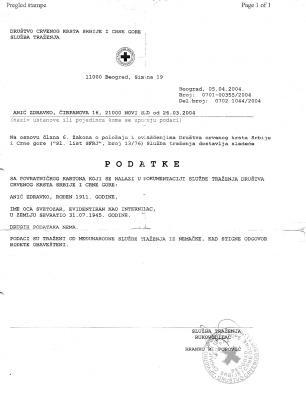 Angaben zur Internierung von Radmilas Mann der Rotes Kreuz Serbien-Montenegro Gesselschaft serbisch und beglaubigte &˜�bersetzung.