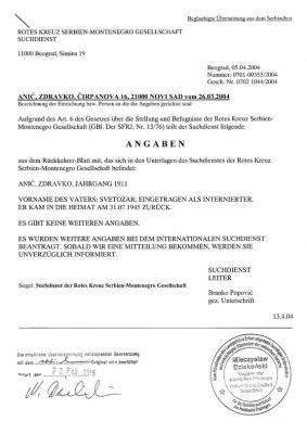 Angaben zur Internierung von Radmilas Mann der Rotes Kreuz Serbien-Montenegro Gesellschaft serbisch und beglaubigte �bersetzung.