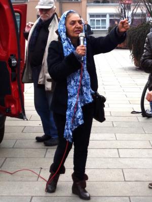Radmila auf der Roma Demo am 24.03.2014, in Erfurt.