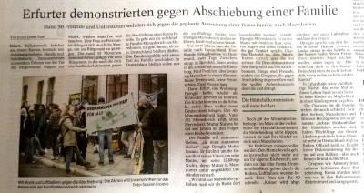 Thüringer Allgemeine vom 11.02.2015 zu Memedovich bleiben - Alle bleiben!